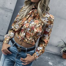 All Over Floral Print Tie Neck Crop Blouse