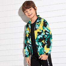 Winddichte Jacke mit Reissverschluss, Buchstaben Grafik und Camo Muster