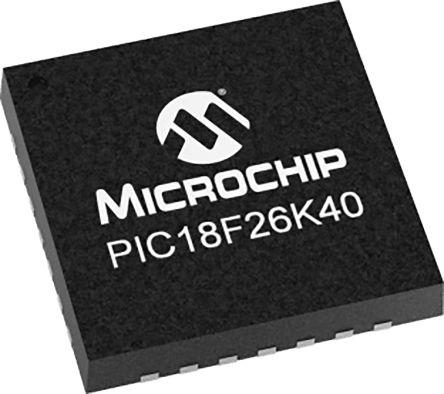 Microchip PIC18F26K40-I/ML, 8bit PIC Microcontroller, PIC18F, 64MHz, 64 kB Flash, 28-Pin QFN (61)