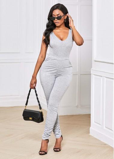 V Neck Grey Sleeveless Sports Suit - XL