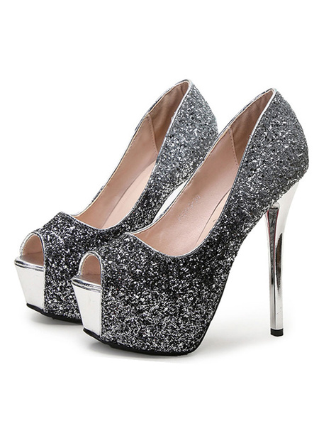 Milanoo Women High Heels Glitter Platform Peep Toe Stiletto Heel Prom Shoes Party Shoes