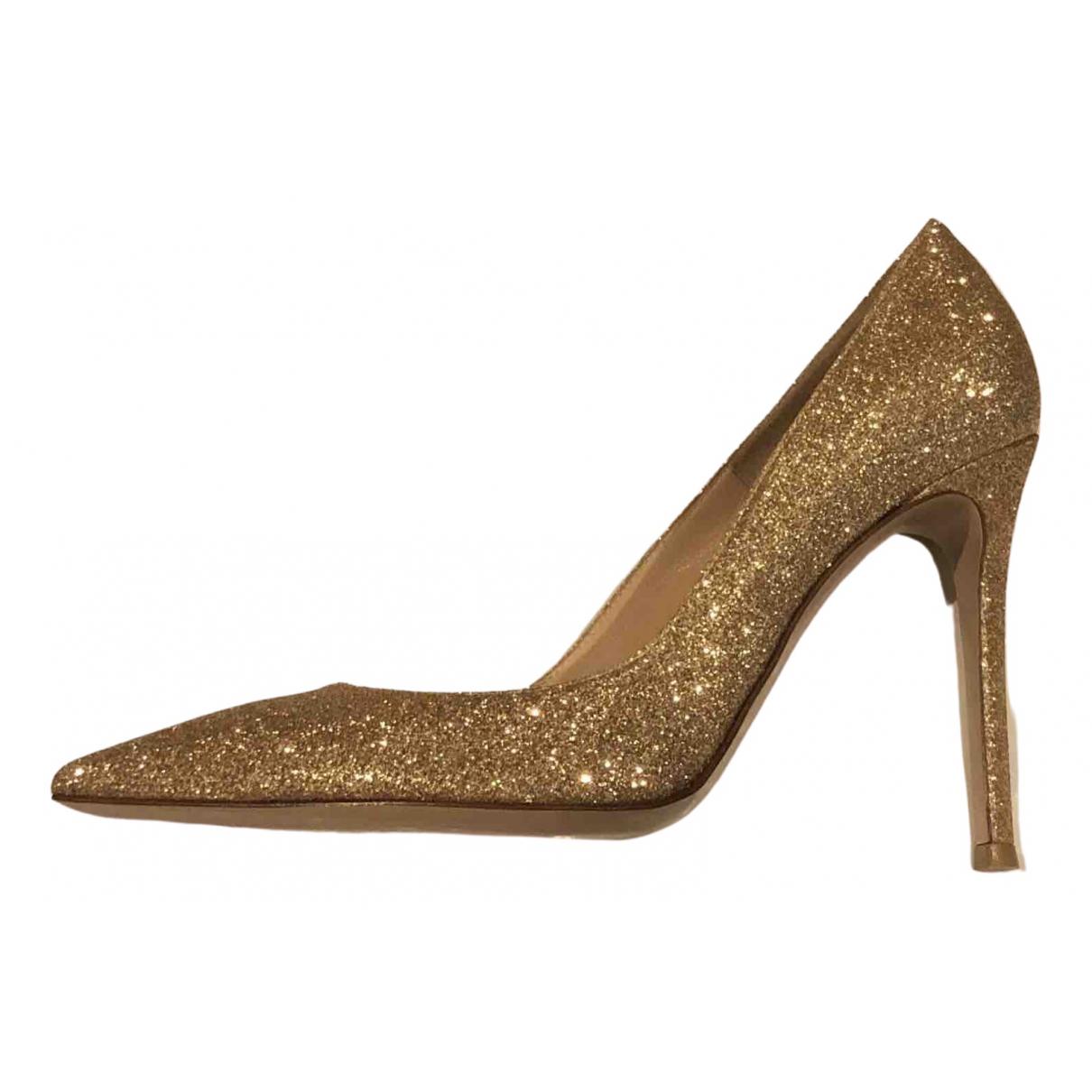 Gianvito Rossi Gianvito Gold Glitter Heels for Women 37.5 EU