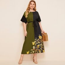 Plus Self Belted Colorblock Floral Print Dress