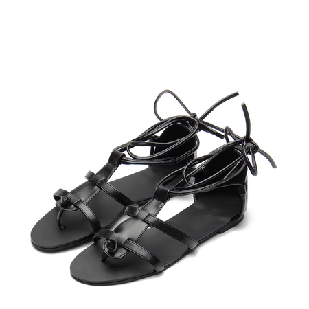 Yoins Black Leather Look Lace-up Gladiator Flat Sandals