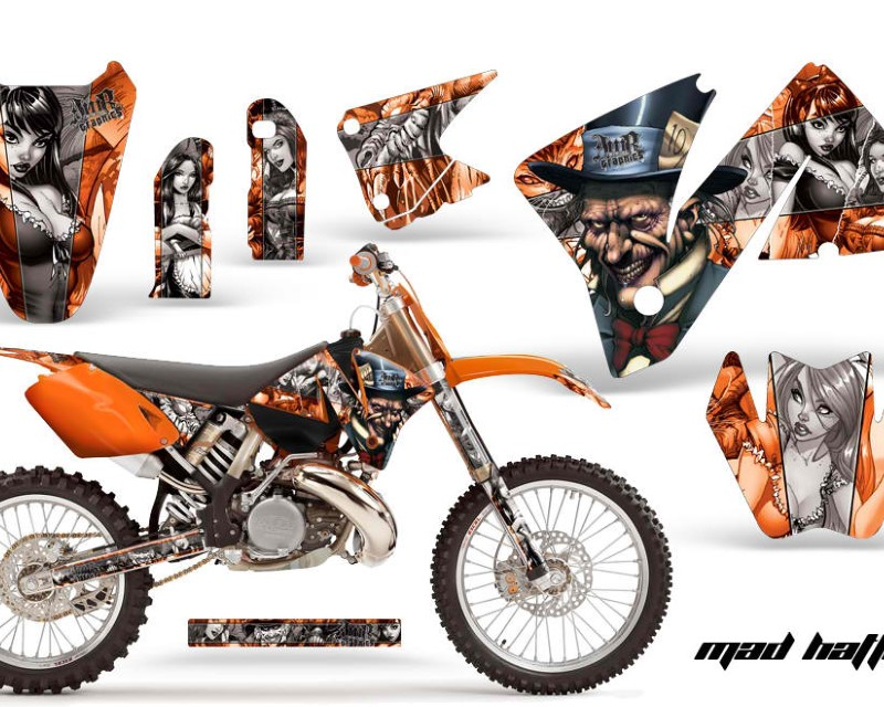 AMR Racing Dirt Bike Decal Graphic Kit Wrap For KTM EXC 200-520 MXC 200-300 2001-2002áHATTER SILVER ORANGE