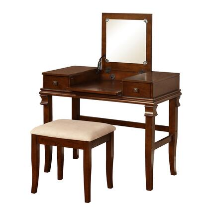 BM16843 Wooden Vanity Set with Flip Top Mirror and 2 Drawers  Brown and