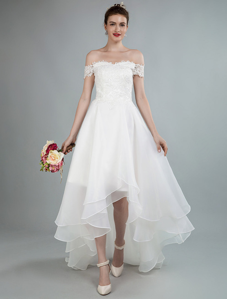 Milanoo Simple Wedding Dress A Line Off The Shoulder Sleeveless Lace Bridal Dresses With Train