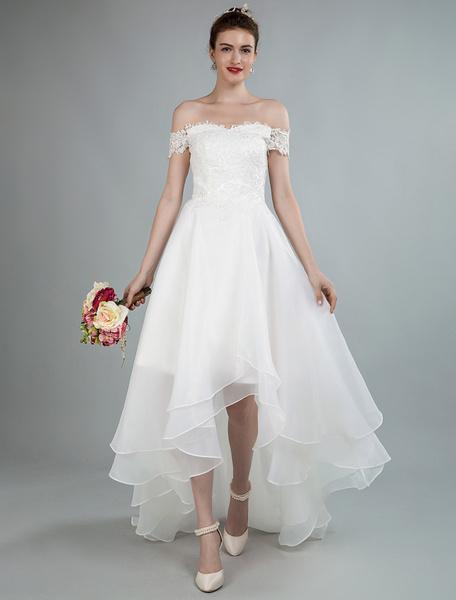 Milanoo Vestidos de novia sencillos de linea A sin mangas Vestidos de novia Marfil con escote de hombros caidos cintura natural de encaje de organz