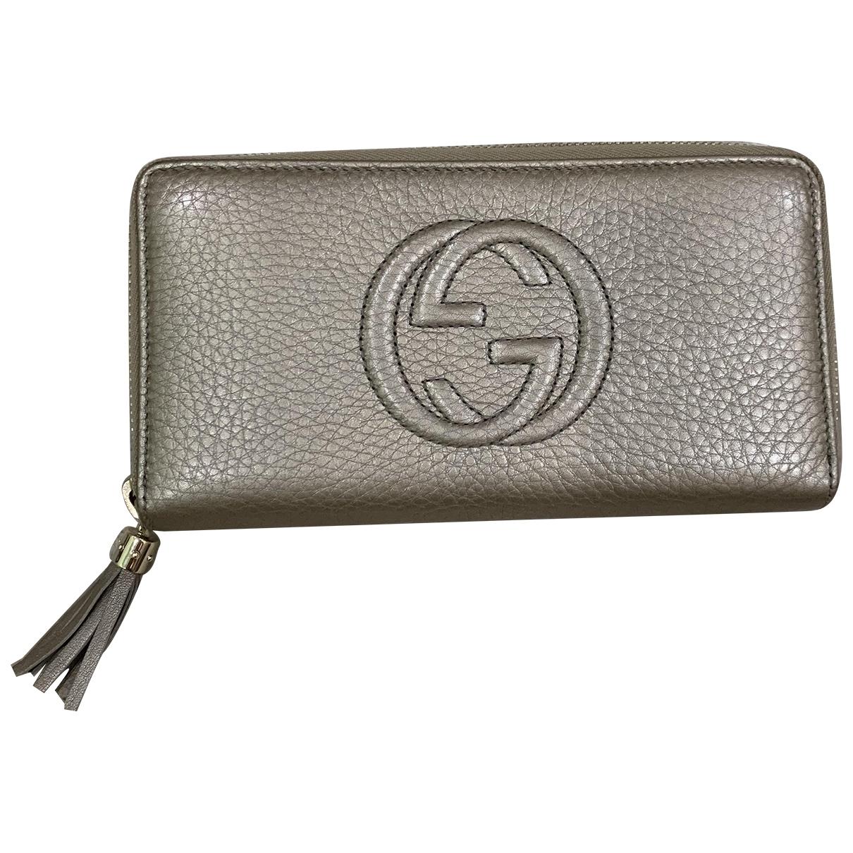 Gucci - Portefeuille Soho pour femme en cuir - metallise