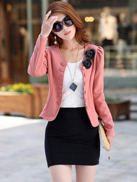 Milanoo Americanas mujer de algodon blanca blazer con escote estilo marinero Color liso con lazo elegante