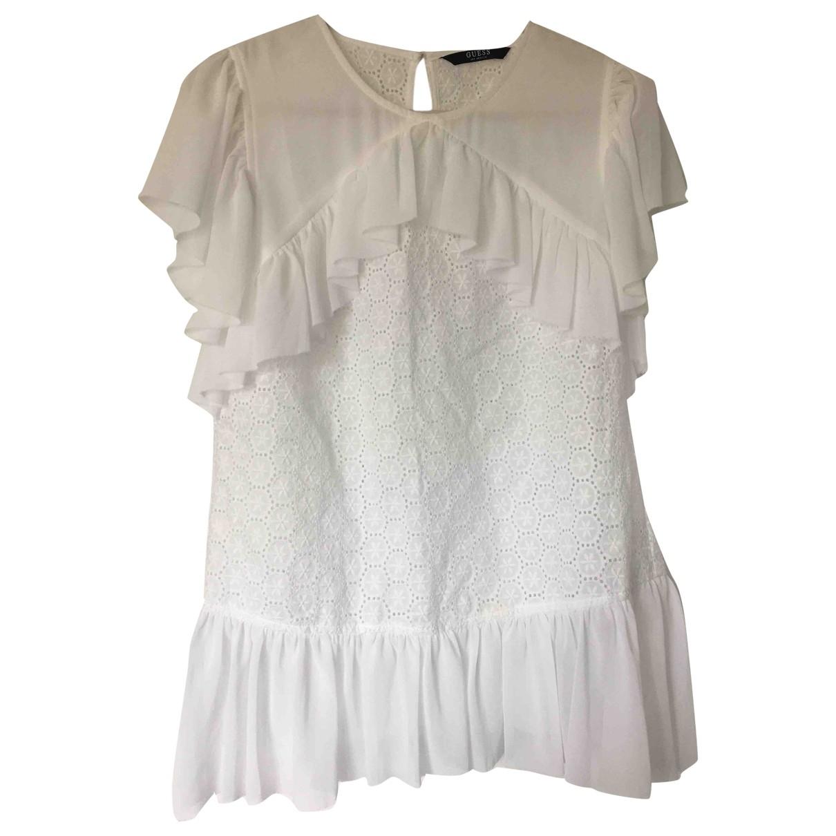 Guess - Top   pour femme en coton - blanc