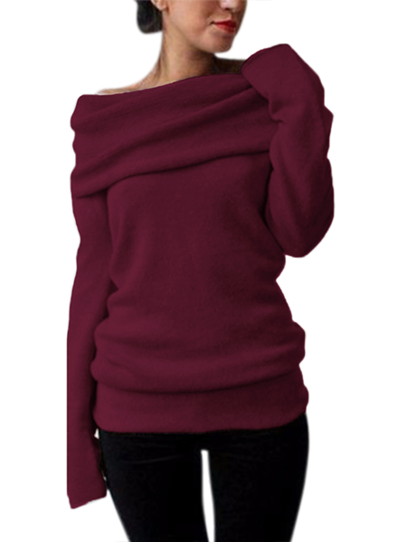 Yoins Style Dome One Shoulder Overlay Long Sleeves Sweater