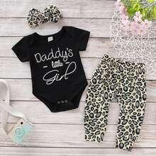 Baby Girl Letter Graphic Bodysuit & Pants & Headband