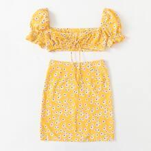 Ditsy Floral Print Tie Front Crop Top & Skirt Set