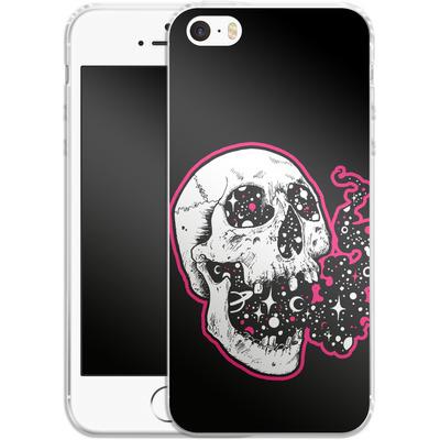 Apple iPhone 5 Silikon Handyhuelle - Space Skull Black von Kreatyves