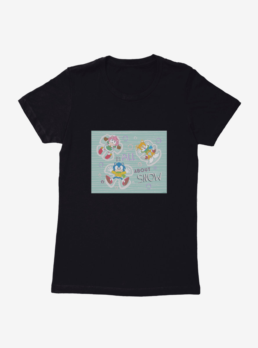 Sonic The Hedgehog Sonic, Tails And Amy Rose Snow Angels Womens T-Shirt