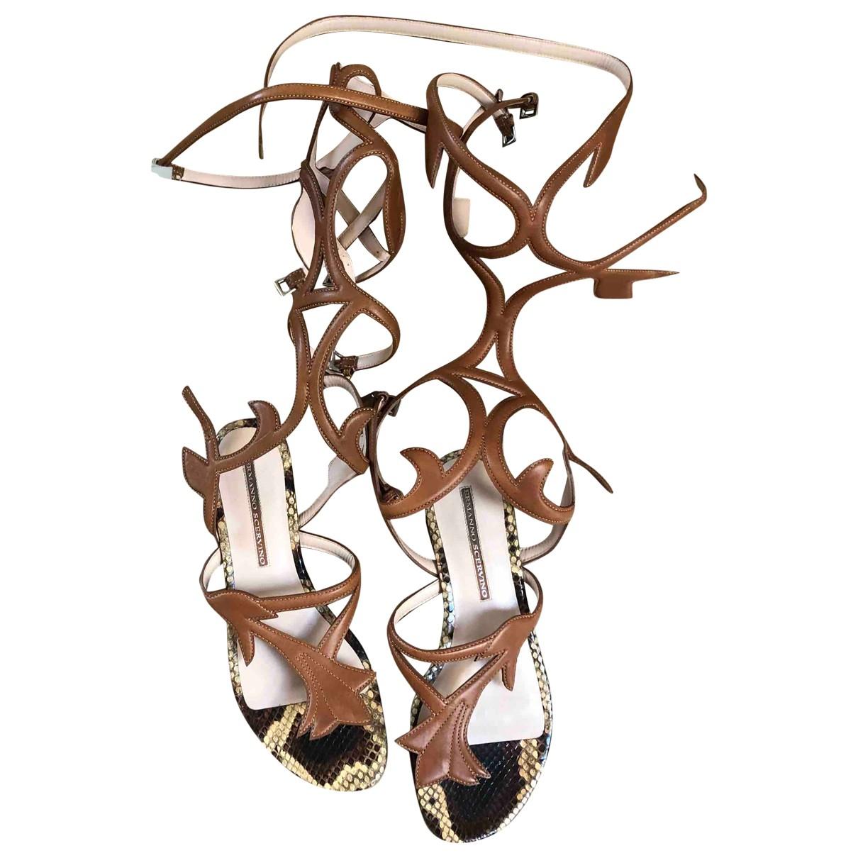 Ermanno Scervino \N Camel Leather Sandals for Women 39 EU
