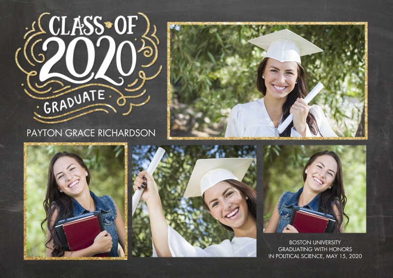 2020 Graduation Announcements 5x7 Cards, Premium Cardstock 120lb with Elegant Corners, Card & Stationery -2020 Class of HandLettered Swirls by Tumbali