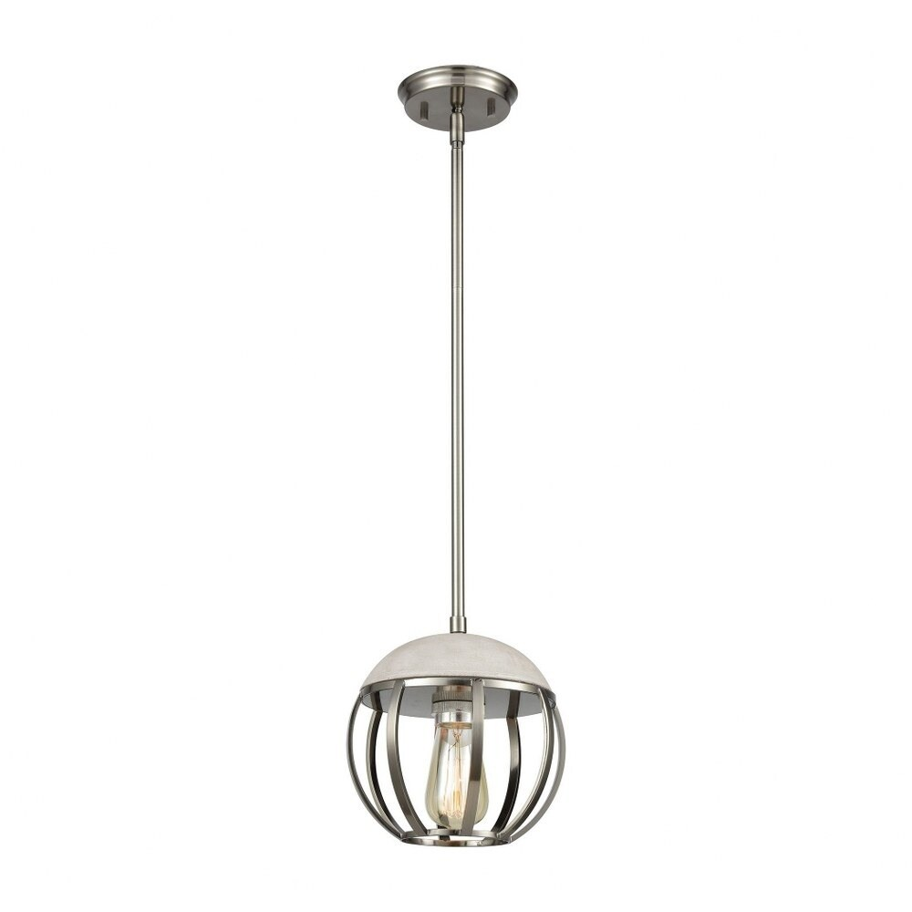 Brushed Black Nickel 1-Light Mini Pendant With Concrete And Metal Cage -Urban-Industrial Style (Brushed Black Nickel)