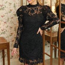 Leg-of-mutton Sleeve Guipure Lace Dress