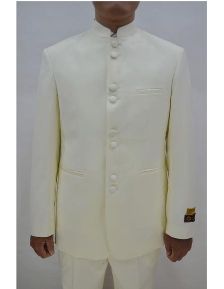 Marriage Groom Wedding Indian Nehru Suit Jacket Mens Blazer Ivory