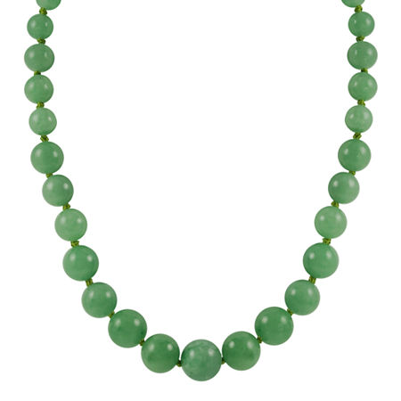 14K Gold Jade Graduated Bead Necklace, One Size , No Color Family