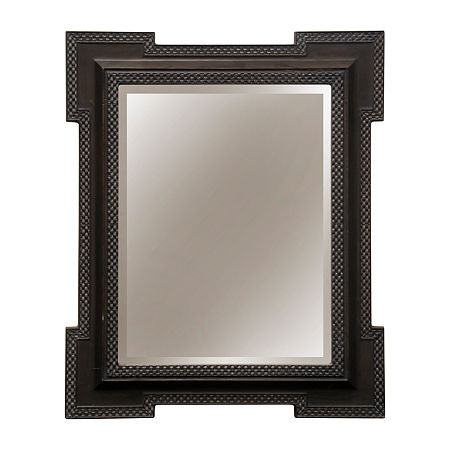 Stylecraft Rectangular Charcoal Gray Wood Wall Mirror, One Size , Brown