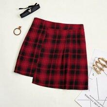 Tartan Zipper Side Asymmetrical Skirt
