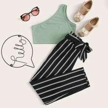 Girls One Shoulder Rib-knit Top & Paperbag Waist Striped Pants Set