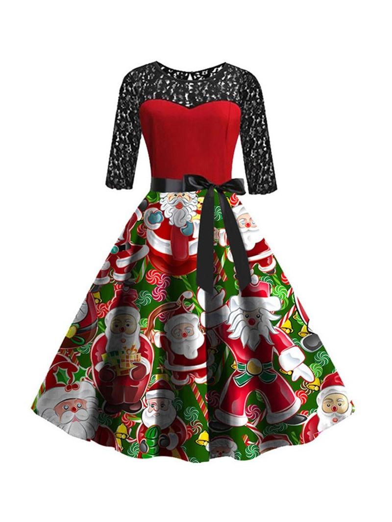 Ericdress Christmas Round Neck Mid-Calf Patchwork Mid Waist Expansion Dress