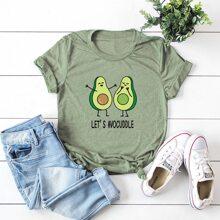 T-Shirt mit Buchstaben & Avocado Muster