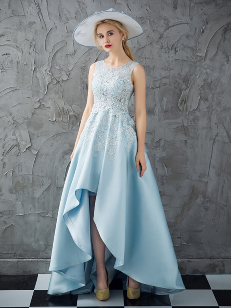 Ericdress A Line High Low Asymmetry Applique Long Prom Dress