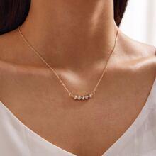 1pc Rhinestone Decor Necklace