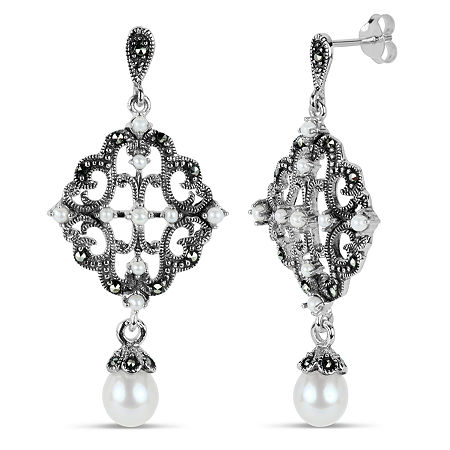 Sterling Silver Drop Earrings featuring Swarovski Genuine Marcasite, One Size , No Color Family