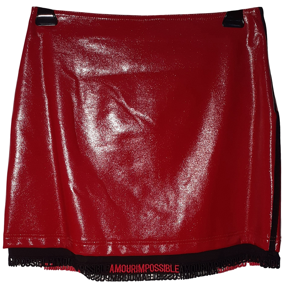 Pinko \N Red Patent leather skirt for Women 44 IT