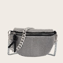 Allover Rhinestone Decor Fanny Pack