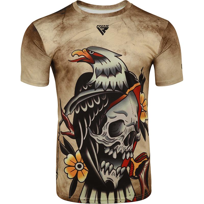 RDX T14 HARRIER Tatouage Manches Courtes T-shirt L marron