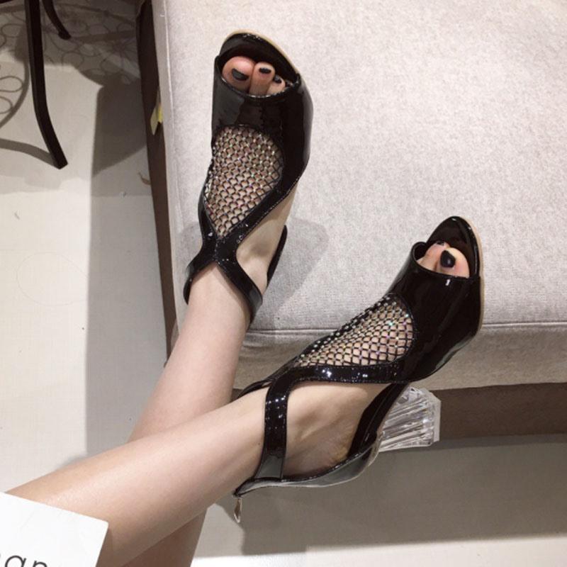 Ericdress Zipper Open Toe Heel Covering Chunky Sandals