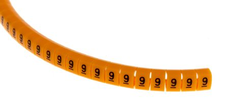 RS PRO Snap On Cable Marker, Pre-printed 9 Black on Orange 4 → 5mm Dia. Range