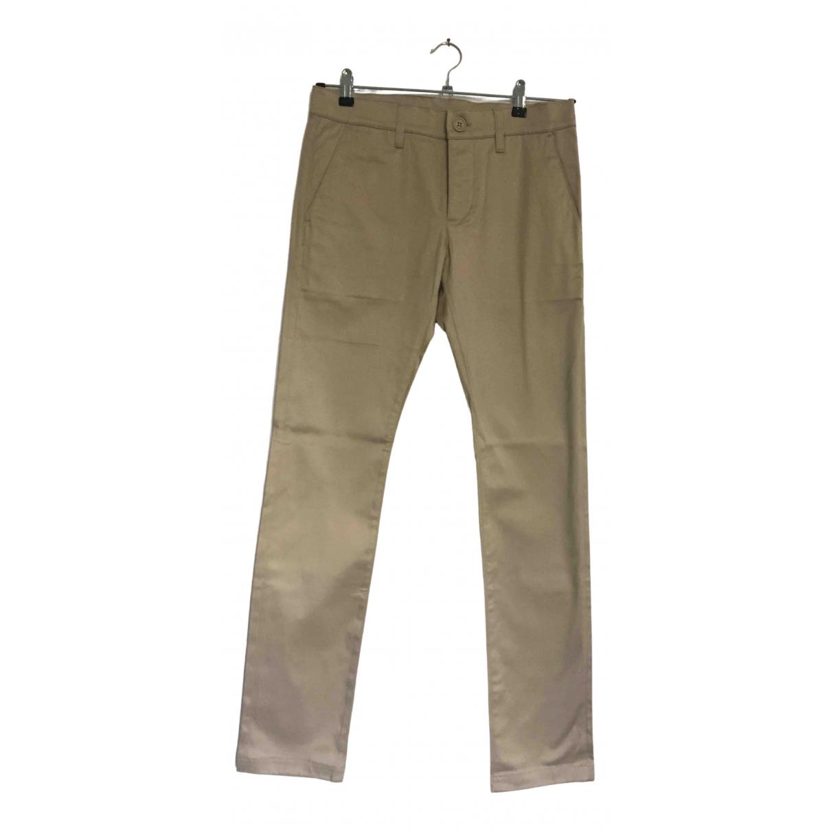 Pantalones en Algodon Beige Saint Laurent