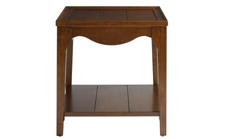 6223-0665 End Table with 1 Fixed Wood Shelf  Scalloped Apron Paneled