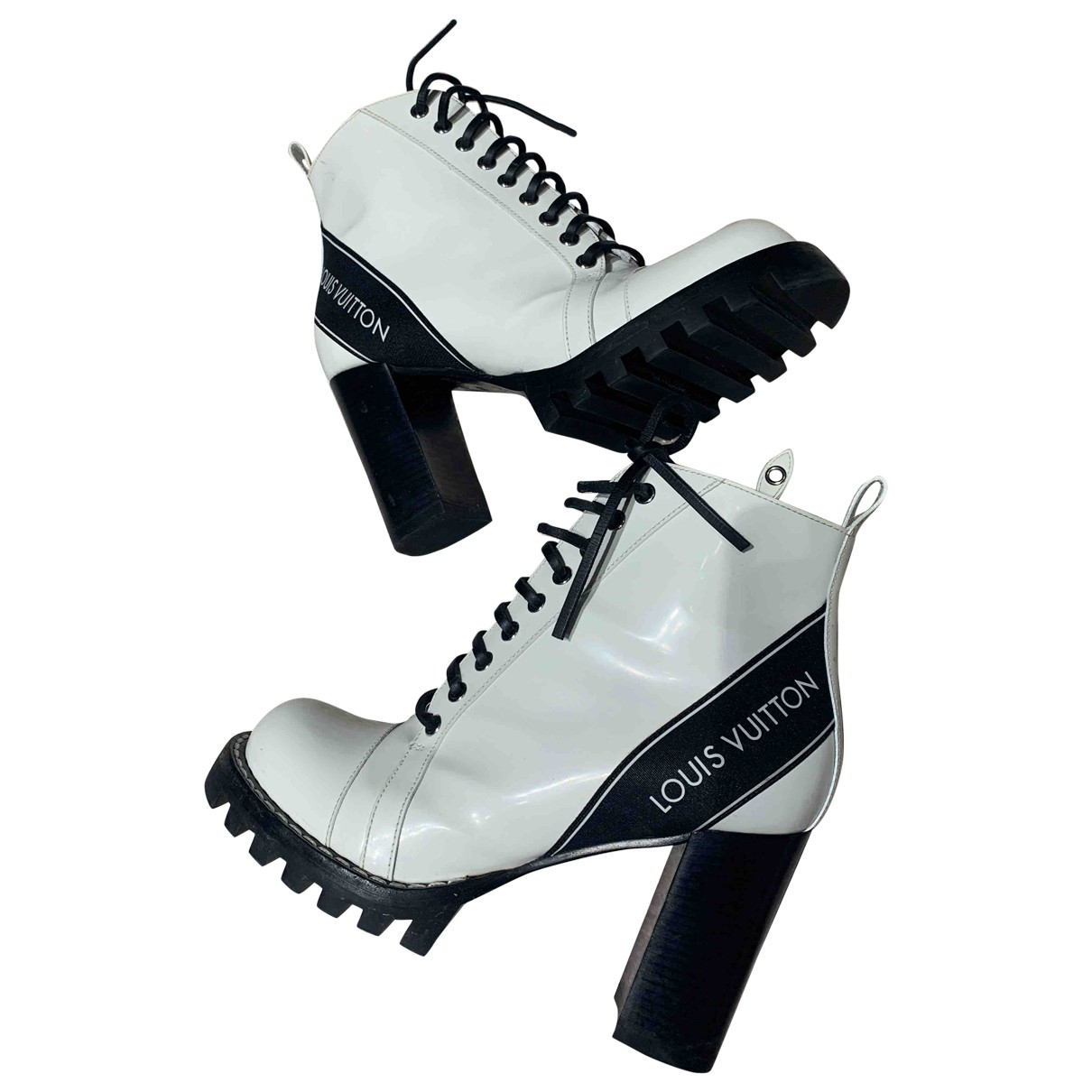 Louis Vuitton Star Trail White Patent leather Ankle boots for Women 39.5 EU