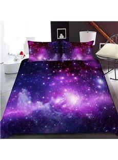Vast Pinkish Purple Galaxy 3D Printed Polyester 1-Piece Warm Quilt