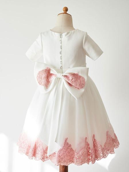 Milanoo Flower Girl Dresses Ecru White Jewel Neck Short Sleeves Beaded Kids Party Dresses