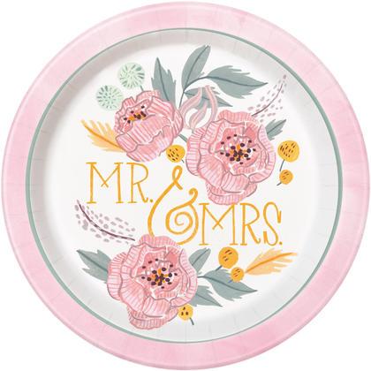 Assiettes à dîner rondes florales peintes de 9, 8ct