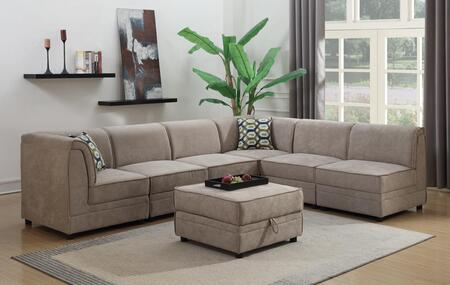 Charlotte 2026-7PC Modular Sectional Sofa with Ottoman Included  Piped Stitching  Plywood Construction and Polyester in