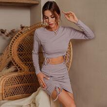Glamaker Ruched Drawstring Knot Crop Top & Bodycon Skirt Set