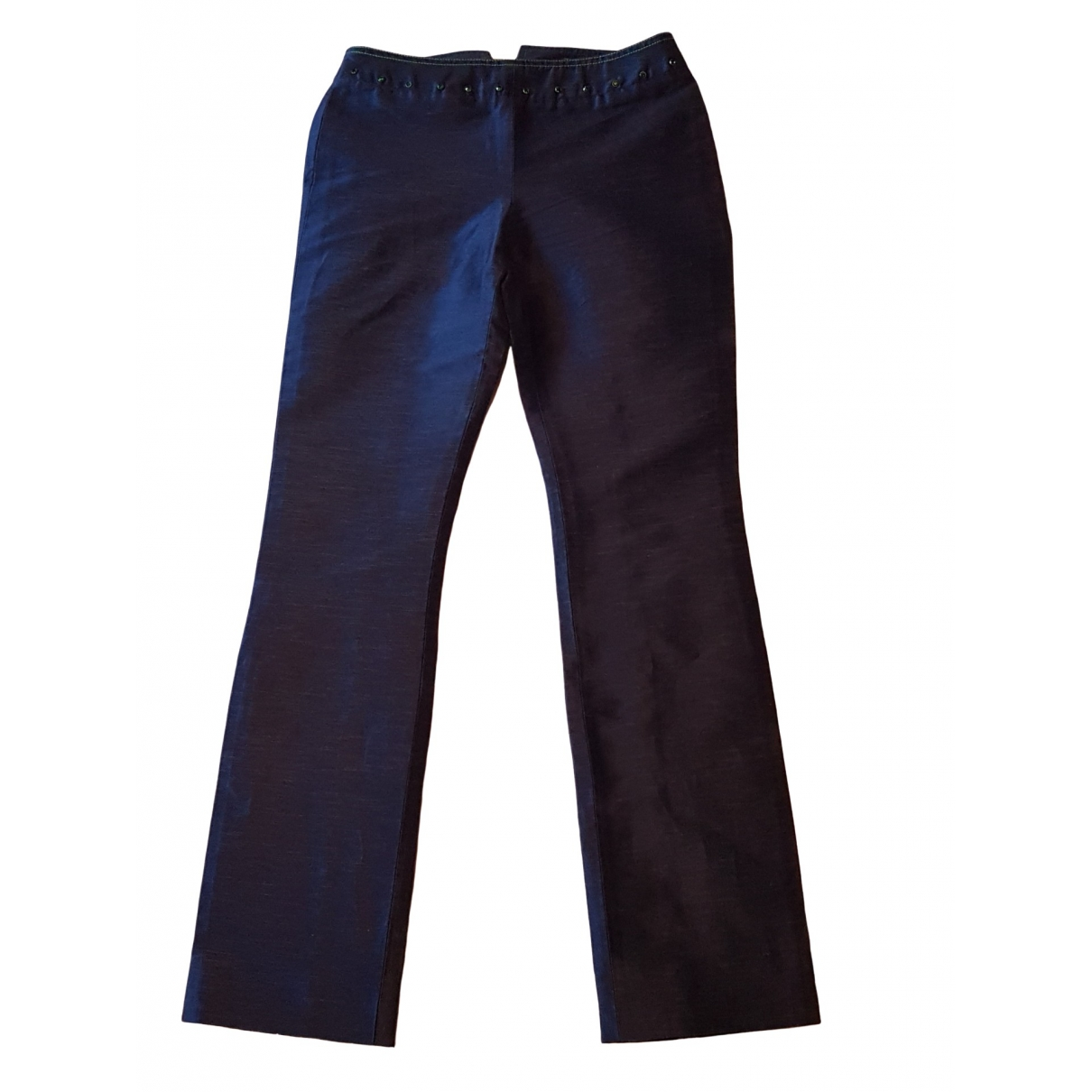 Gianni Versace \N Blue Cotton Trousers for Women 38 IT