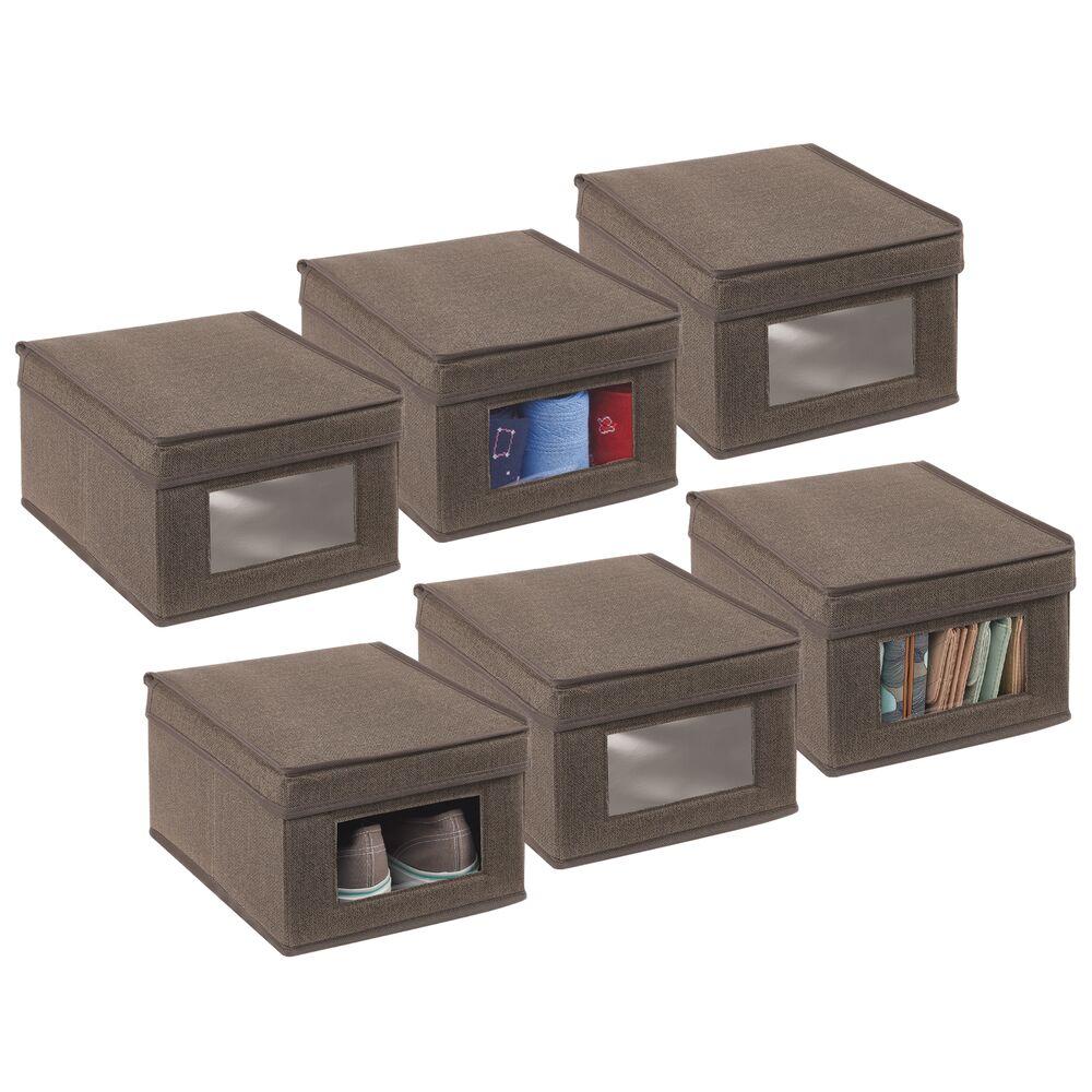 Fabric Closet Storage Organizer Box in Espresso Brown, 11.5