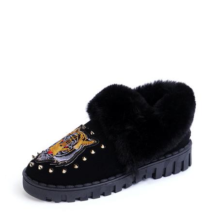 Yoins Black Tiger Pattern Rivets Embellished Fur-Lined Snow Boots
